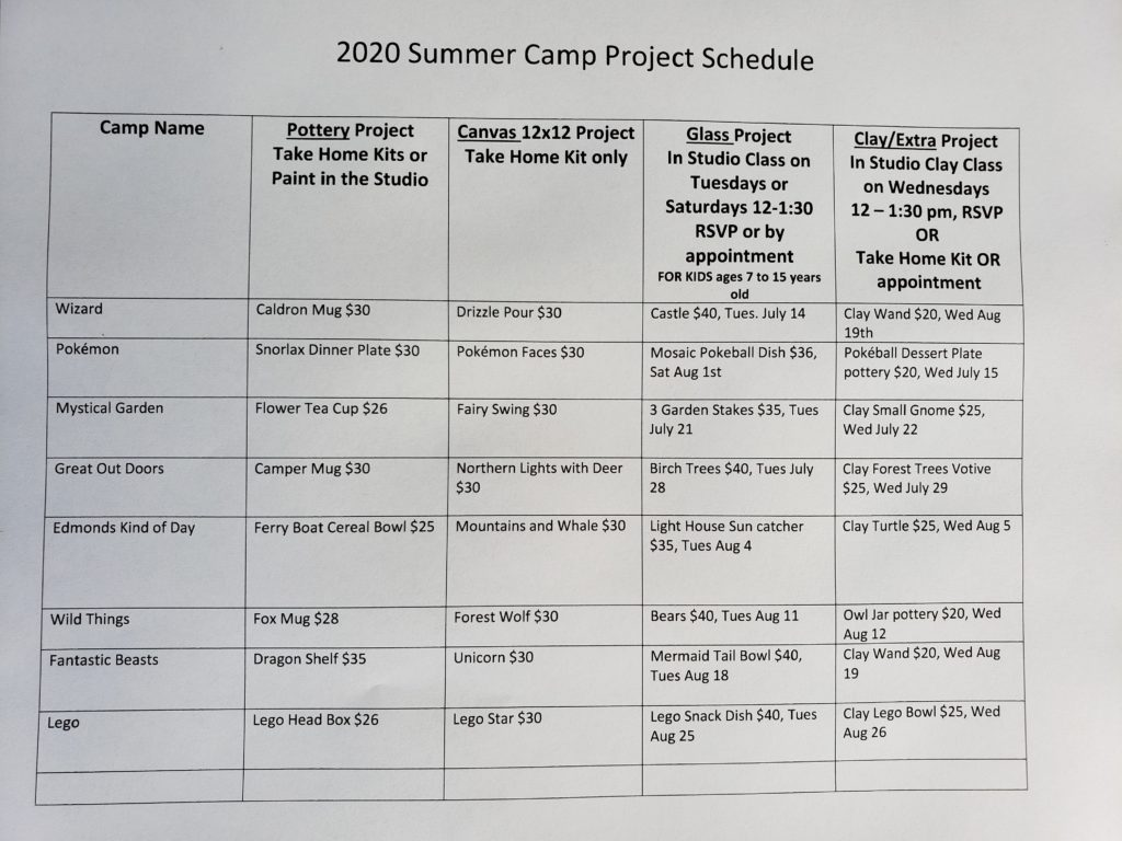 Summer Camp 2020 Project Schedule